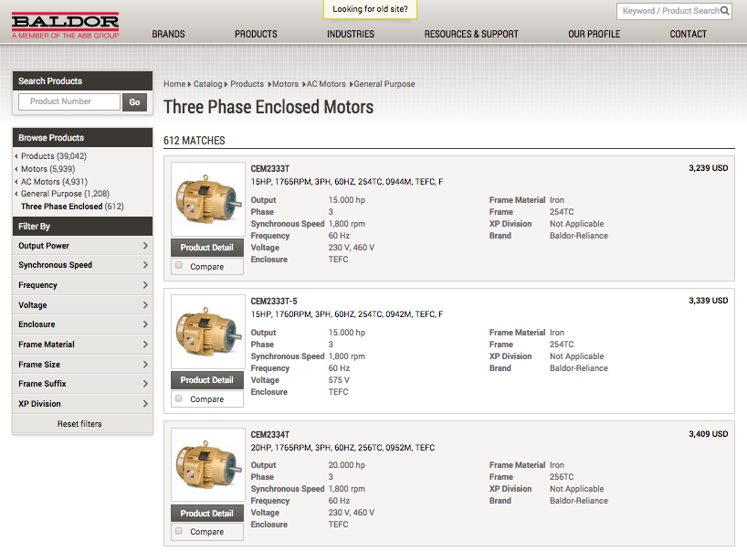 A screenshot of Baldor's website. Baldor is a motor manufacturer that shows industrial pricing online.