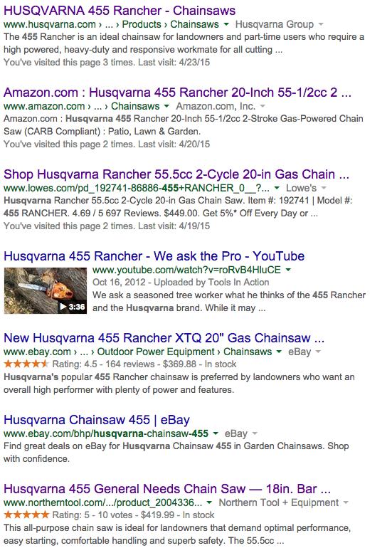 Husqvarna_455_Search_Results