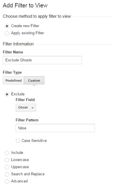 Ghost Traffic Filter Settings