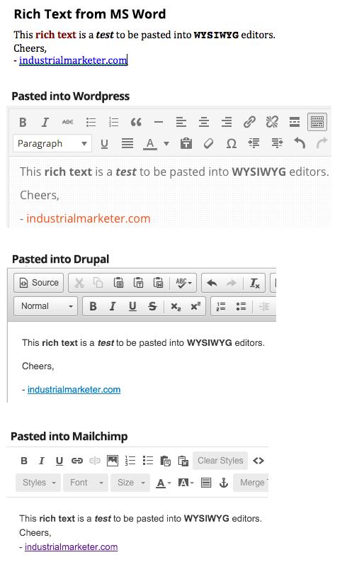 WYSIWYG Editor Copy and Paste Test