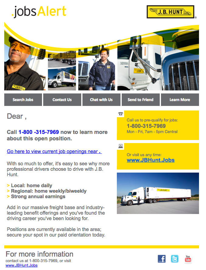 JB Hunt Truck Driver Recruiting Email