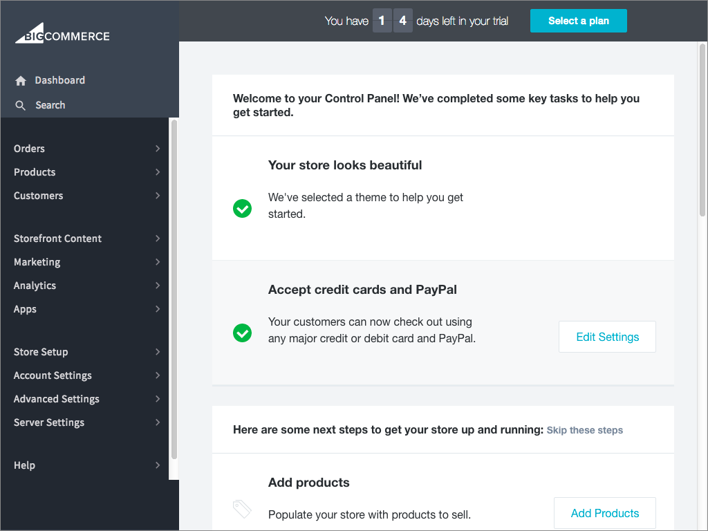 Bigcommerce E-Commerce Platform Admin